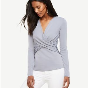 Ann Taylor Twist Front Top in Violet Blue